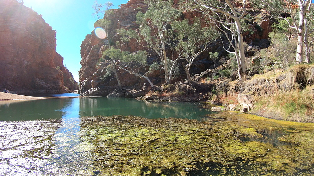 Permanent waterhole, Ellery Creek Big Hole, and geological site with red cliffs in West MacDonnell National Park, 80km from Alice Springs, Outback, Northern Territory, Australia, Pacific - 1314-169