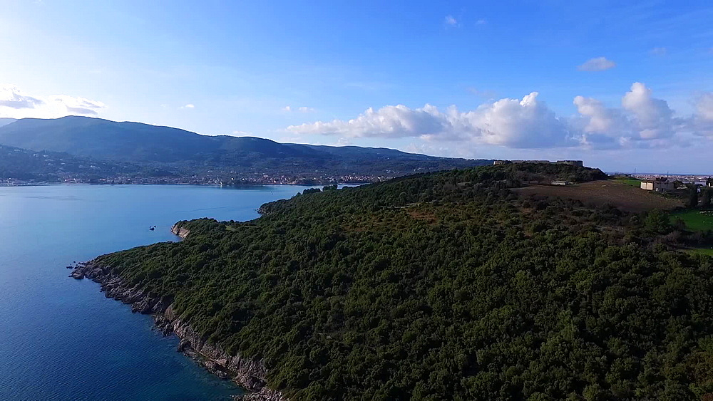 Aerial view of the vicinity of St George castle and its beautiful surroundings at Plagia, Lefkada, Greece - 1334-1