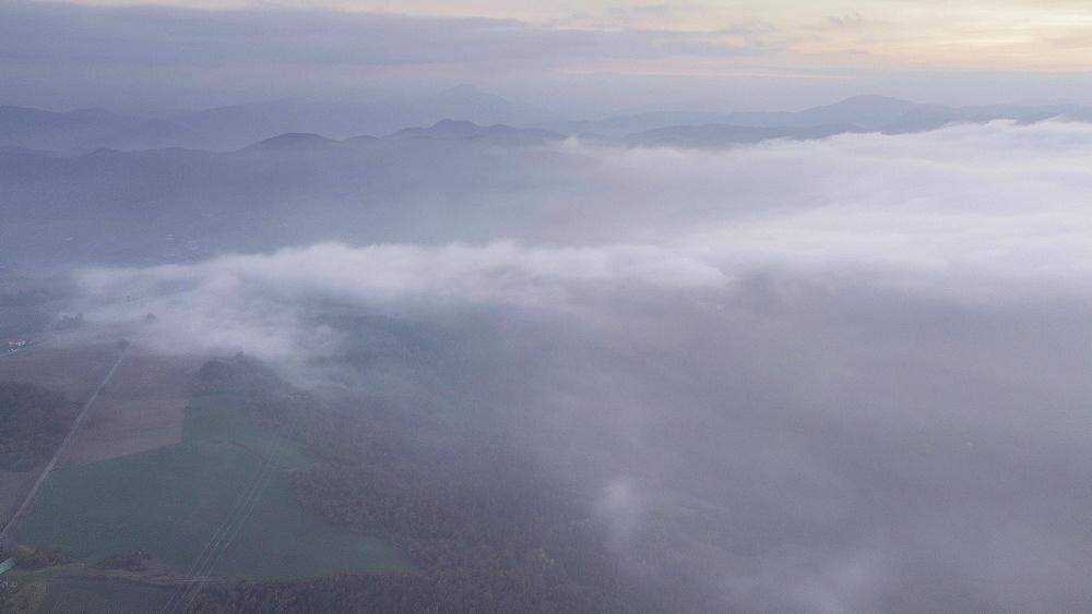 Aerial time lapse over a fog sea, Emilia Romagna, Italy, Europe