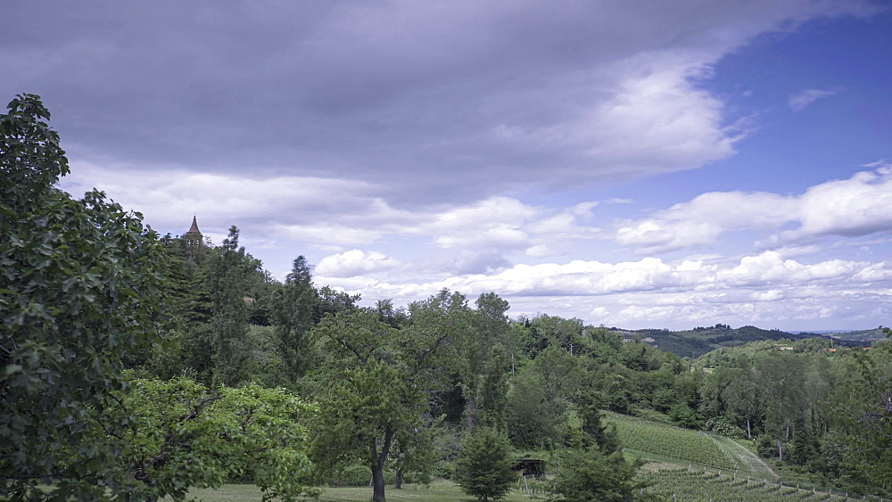 Time lapse of clouds over countryside landscape, Emilia Romagna, Italy, Europe
