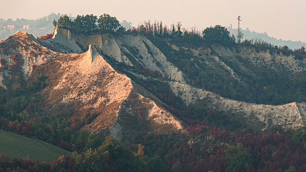 Time lapse of sunset on badlands and a rock formation named Buzzard Tooth, Emilia Romagna, Italy, Europe