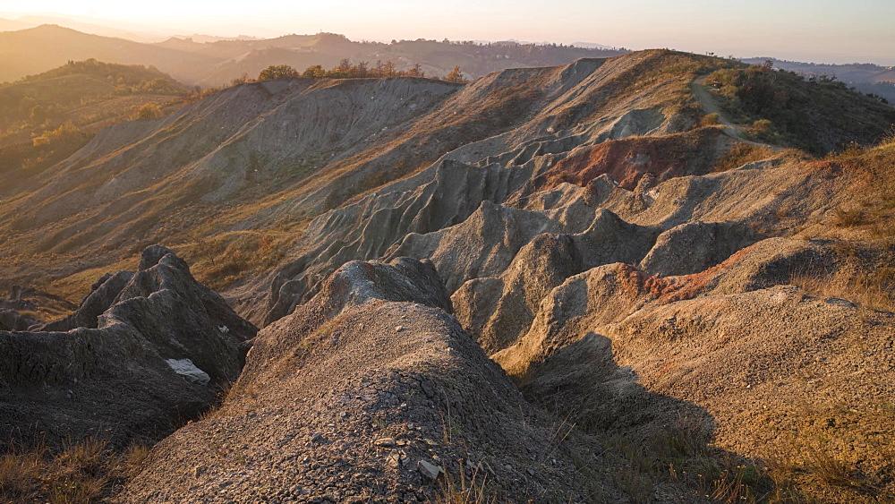 Time lapse of sunset on badlands, Emilia Romagna, Italy, Europe