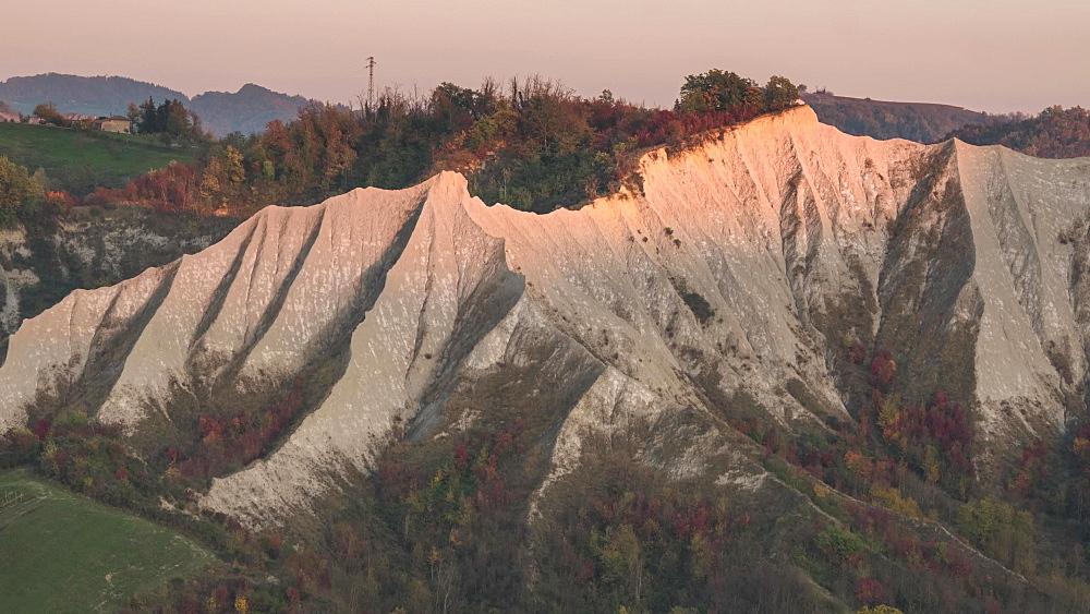 Time lapse of sunrise on badlands in autumn, Emilia Romagna, Italy, Europe