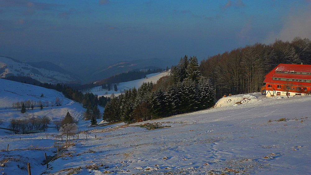 View of Schauinsland Mountain near Freiburg to the Muenstertal in winter, South Black Forest, Schwarzwald, Baden-Wuerttemberg, Germany - 396-10171