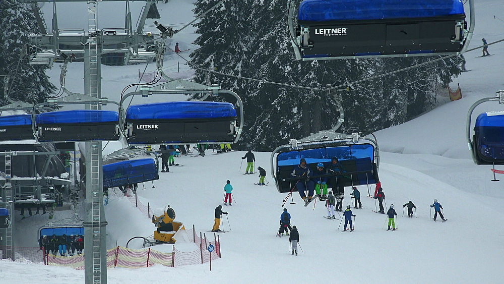 Ski lift at skiing area at Feldberg Pass, South Black Forest, Schwarzwald, Baden-Wuerttemberg, Germany - 396-10191