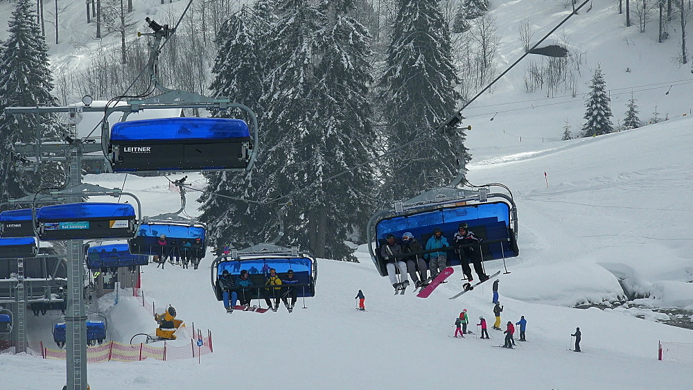 Ski lift at skiing area at Feldberg Pass, South Black Forest, Schwarzwald, Baden-Wurttemberg, Germany, Europe - 396-10193