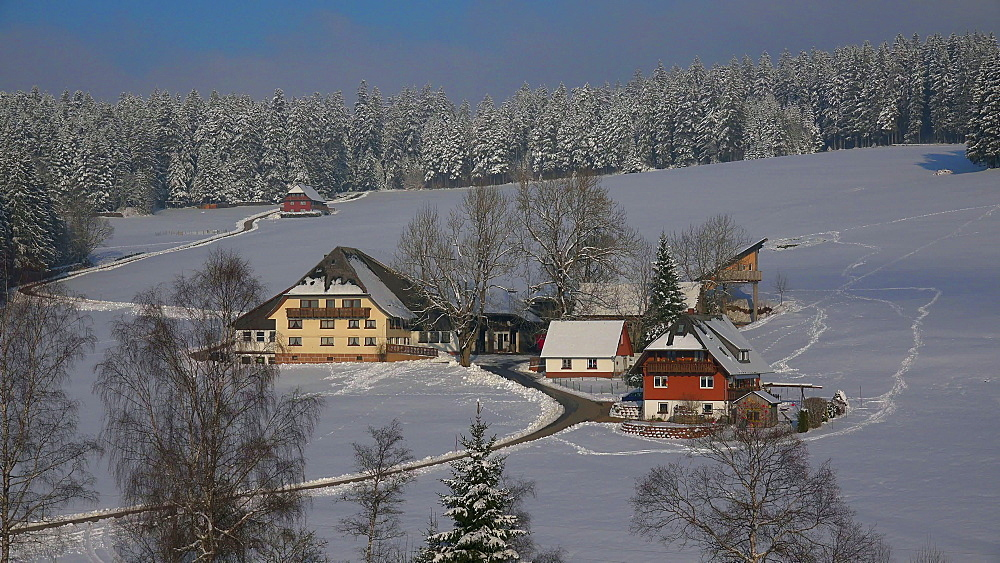 Farmhouse near Thurner in winter, South Black Forest, Schwarzwald, Baden-Wuerttemberg, Germany - 396-10205