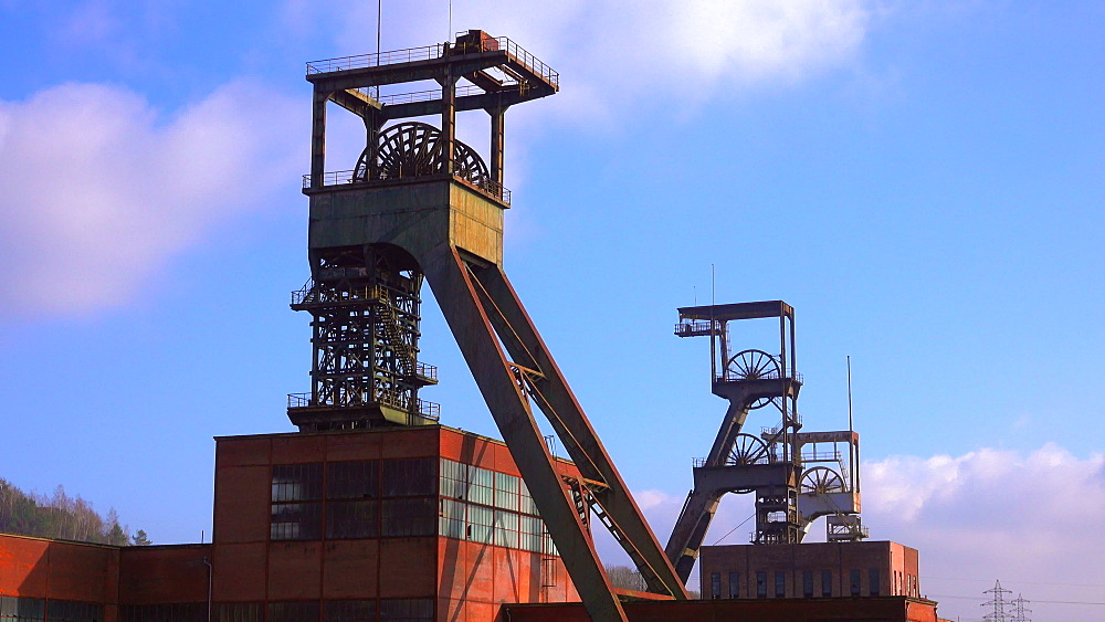 Old winding towers at Mining Museum Les Mineurs Wendel, Petite-Rosselle, Lorraine, France - 396-10225