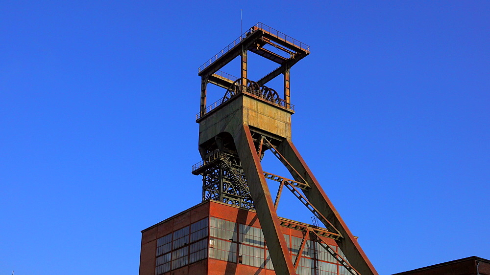 Old winding tower at Mining Museum Les Mineurs Wendel, Petite-Rosselle, Lorraine, France - 396-10226