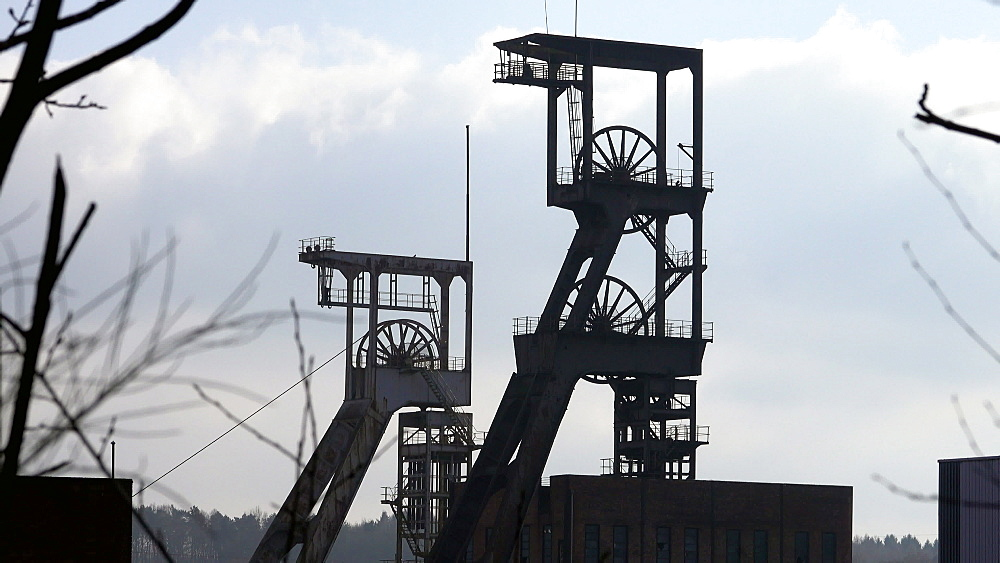 Old winding towers at Mining Museum Les Mineurs Wendel, Petite-Rosselle, Lorraine, France - 396-10227