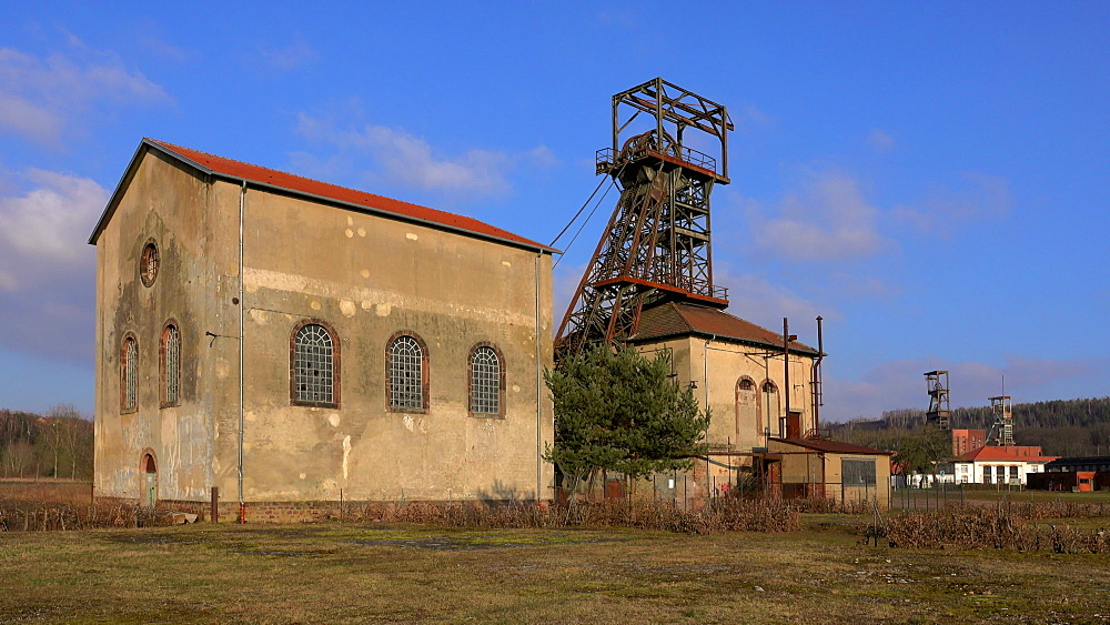 Old winding tower at Mining Museum Les Mineurs Wendel, Petite-Rosselle, Lorraine, France - 396-10228