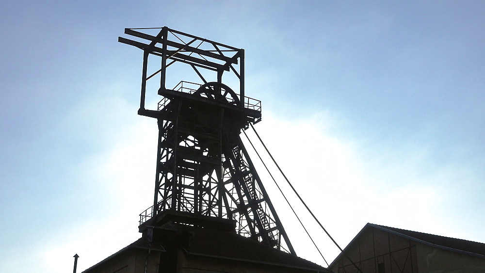 Old winding tower at Mining Museum Les Mineurs Wendel, Petite-Rosselle, Lorraine, France - 396-10229