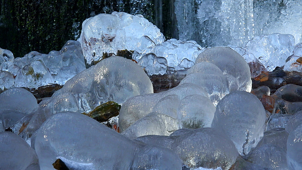 Icicles and ice sculptures at little forest brook, Taben Primeral Forest, Taben-Rodt, Saar Valley, Rhineland-Palatinate, Germany - 396-10237