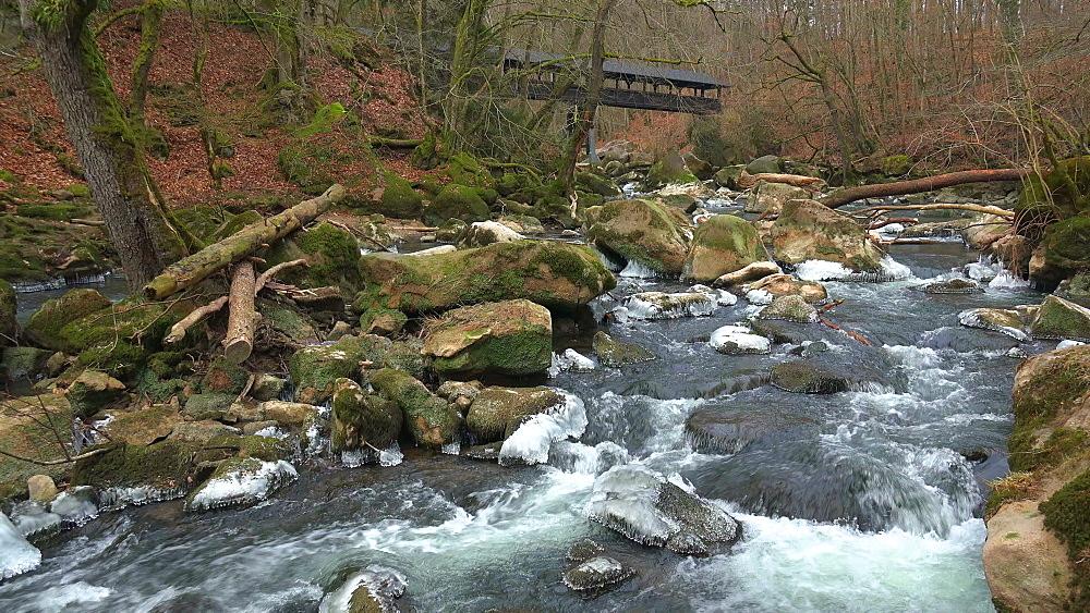 Ice sculptures of Pruem River at Irrel Waterfalls, South Eifel, Rhineland-Palatinate, Germany, Europe - 396-10263