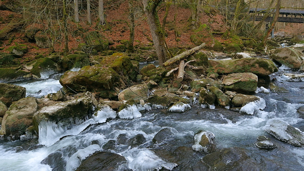 Ice sculptures of Pruem River at Irrel Waterfalls, South Eifel, Rhineland-Palatinate, Germany, Europe - 396-10264