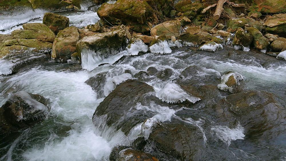 Ice sculptures of Pruem River at Irrel Waterfalls, South Eifel, Rhineland-Palatinate, Germany, Europe - 396-10265