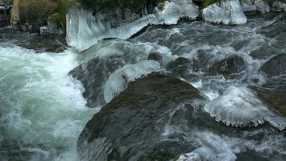 Ice sculptures of Pruem River at Irrel Waterfalls, South Eifel, Rhineland-Palatinate, Germany, Europe - 396-10266