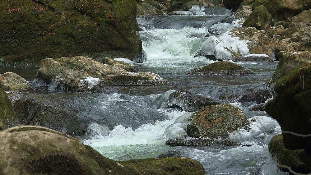 Ice sculptures of Pruem River at Irrel Waterfalls, South Eifel, Rhineland-Palatinate, Germany, Europe - 396-10271
