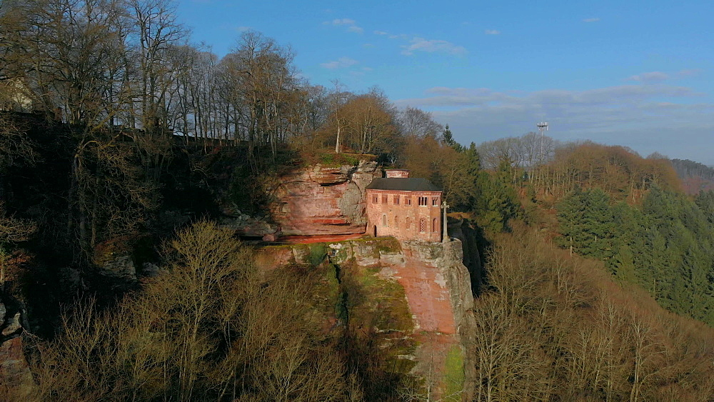 Aerial view of the Funerary Chapel for John of Luxembourg, Kastel-Staadt, Rhineland-Palatinate, Germany, Europe - 396-10298