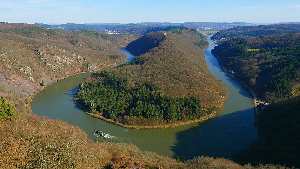 View of Saarschleife (Saar River Bend) at Cloef viewpoint in Orscholz, Mettlach, Saarland, Germany, Europe - 396-10327
