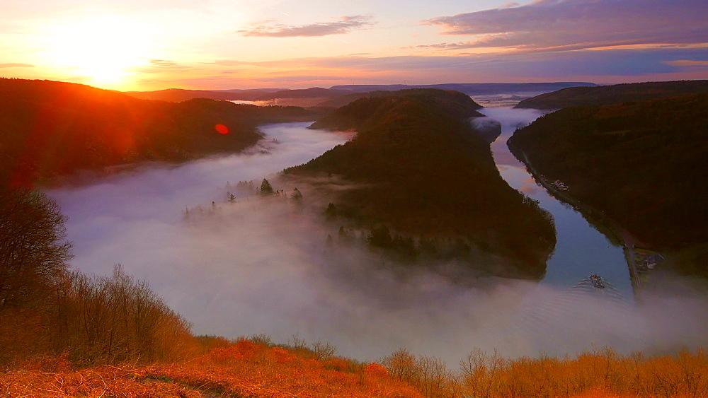 Saarschleife (Saar River Bend) near Mettlach at sunrise in the morning, Saarland, Germany, Europe - 396-10355
