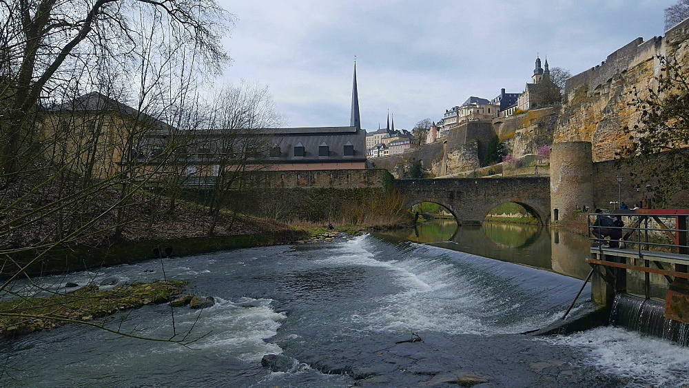 Alzette River in lower town Grund and Bock Casemates, Luxembourg City, Grand Duchy of Luxembourg, Europe - 396-10373