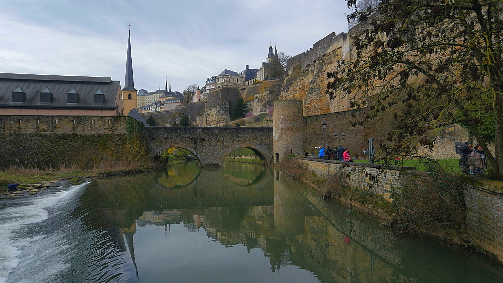 Alzette River in lower town Grund and Bock Casemates, Luxembourg City, Grand Duchy of Luxembourg, Europe - 396-10374