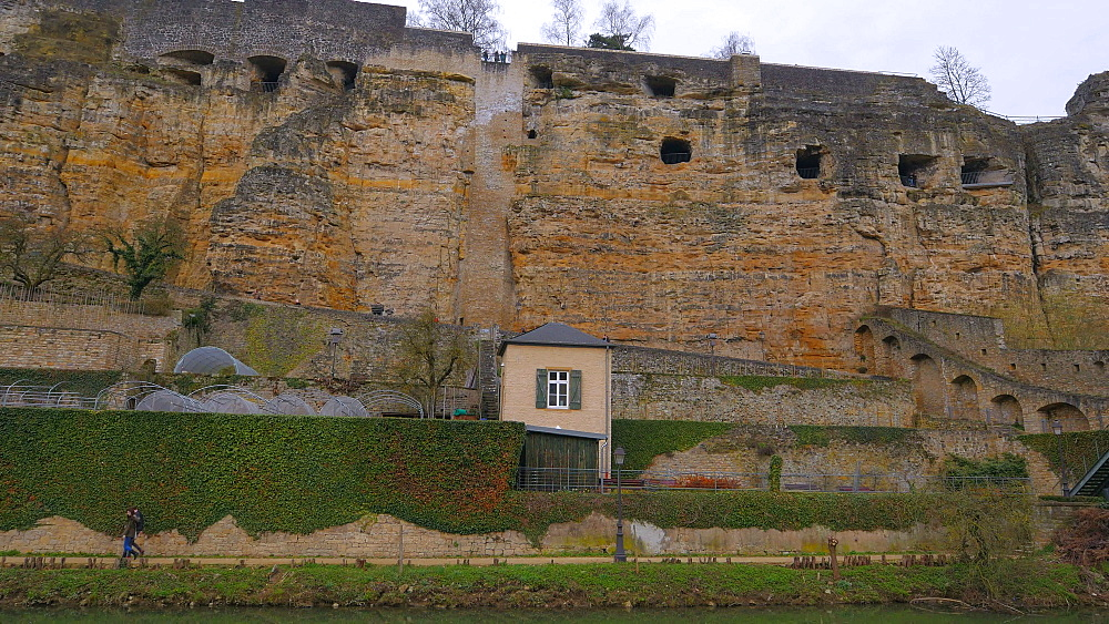 Bock Casemates, seen from Alzette Valley, Grund, Luxembourg City, Grand Duchy of Luxembourg, Europe - 396-10376