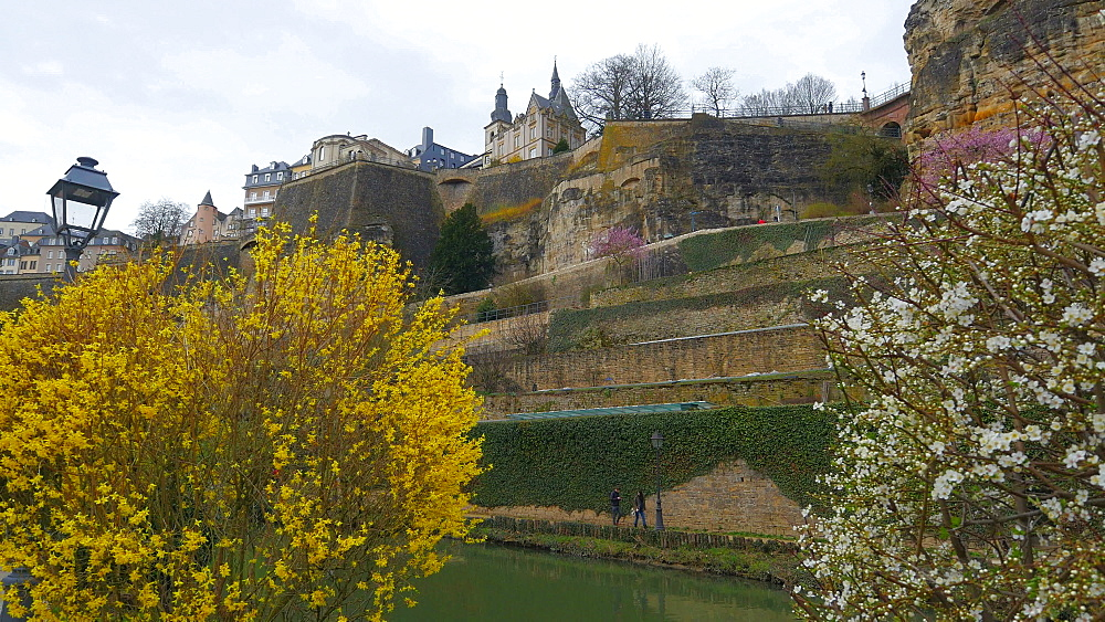Bock Casemates, seen from Alzette Valley, Grund, Luxembourg City, Grand Duchy of Luxembourg, Europe - 396-10378