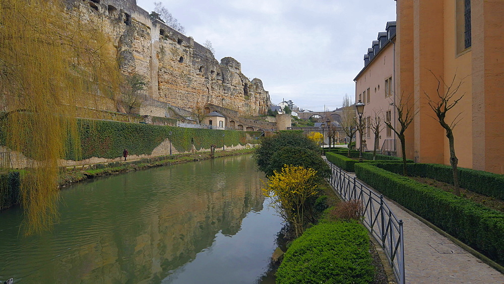 Bock Casemates, seen from Alzette Valley, Grund, Luxembourg City, Grand Duchy of Luxembourg, Europe - 396-10383