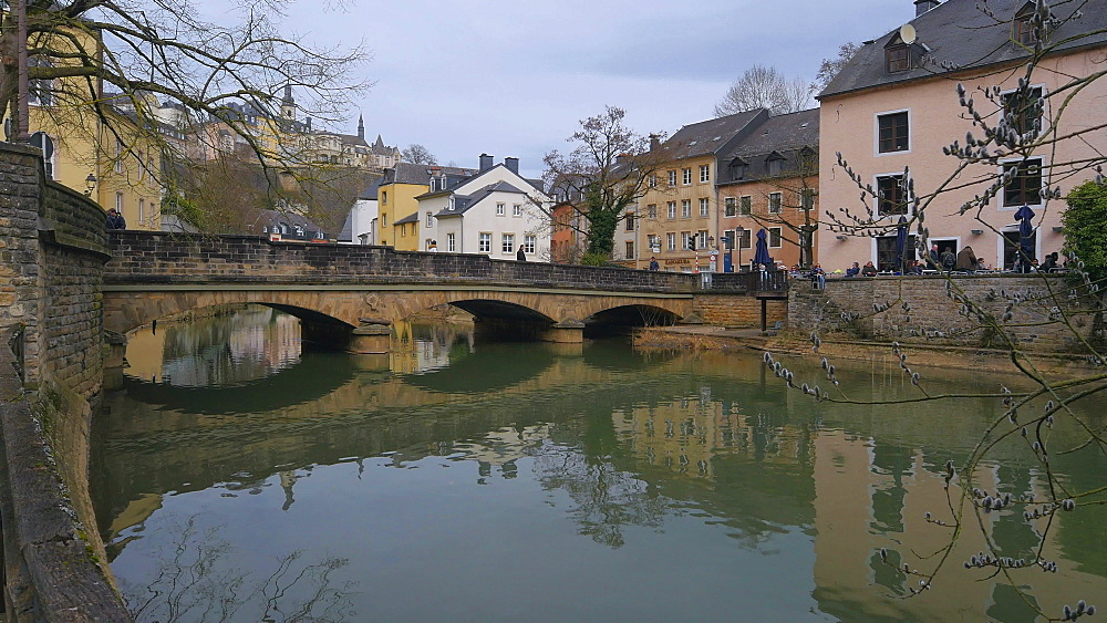 Alzette River in the District of Grund, Luxembourg City, Grand Duchy of Luxembourg, Europe