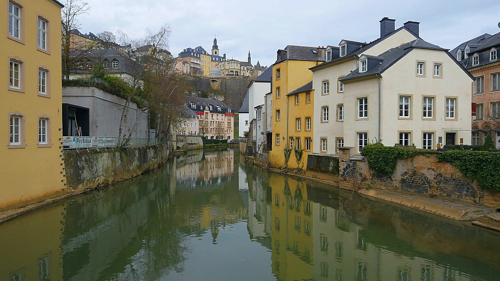 Alzette River in the District of Grund, Luxembourg City, Grand Duchy of Luxembourg, Europe - 396-10386