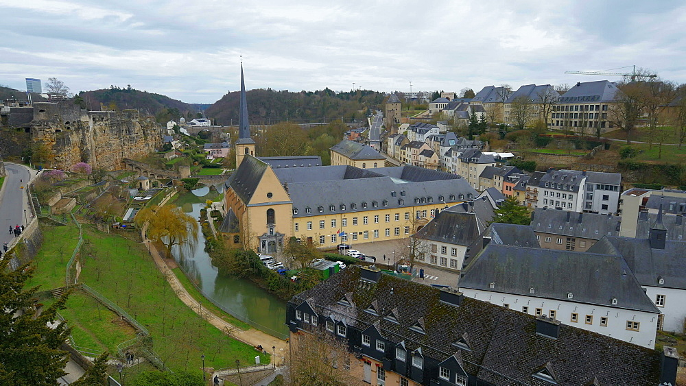 Lower town Grund with Alzette river and Neumuenster Abbey, Luxembourg City, Grand Duchy of Luxembourg, Europe