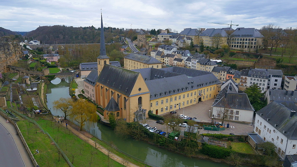 Lower town Grund with Alzette river and Neumuenster Abbey, Luxembourg City, Grand Duchy of Luxembourg, Europe - 396-10399