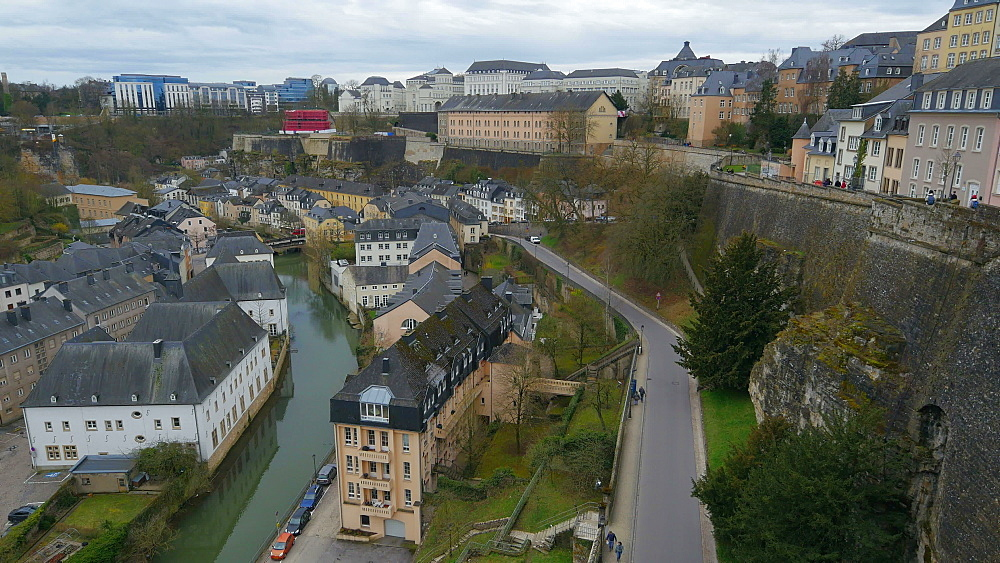 Lower town Grund with Alzette river, Luxembourg City, Grand Duchy of Luxembourg, Europe - 396-10400