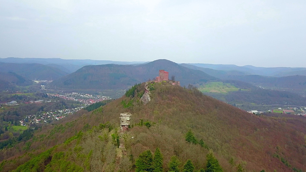 Aerial view of Trifels Castle and Anebos Castle ruin, near Annweiler, Palatinate Forest, Rhineland-Palatinate, Germany, Europe - 396-10424