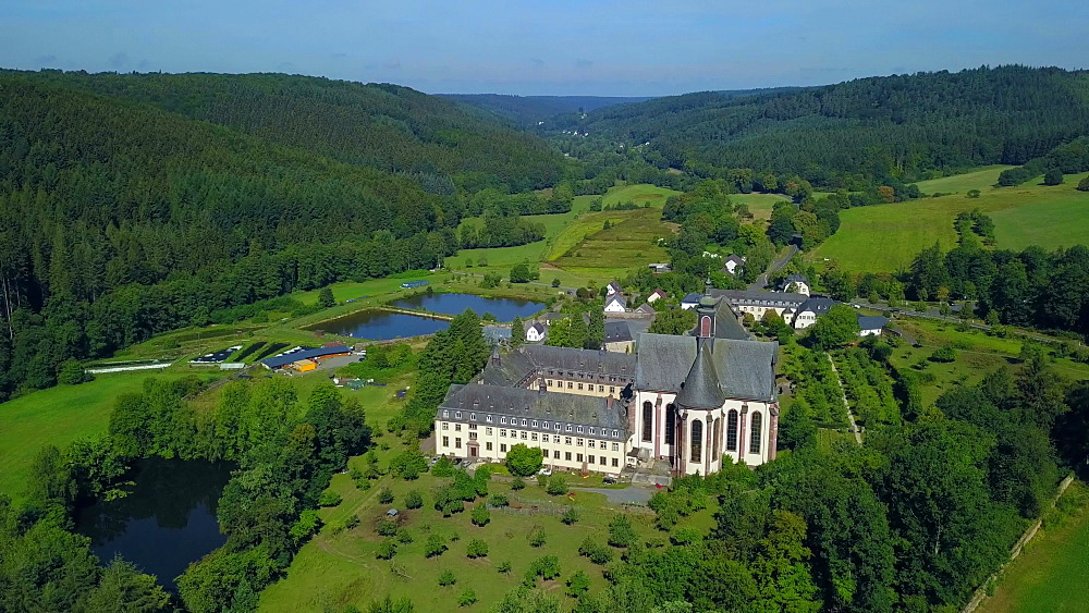 View across Himmerod Abbey, Gro?littgen, Eifel, Rhineland-Palatinate, Germany - 396-10468