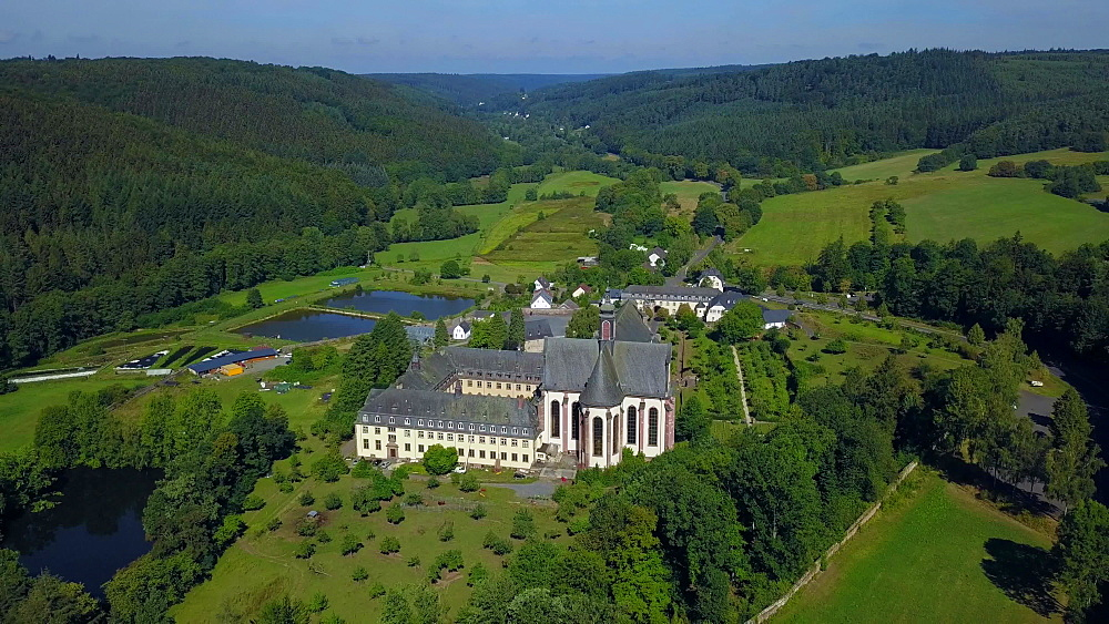 View across Himmerod Abbey, Grosslittgen, Eifel, Rhineland-Palatinate, Germany, Europe