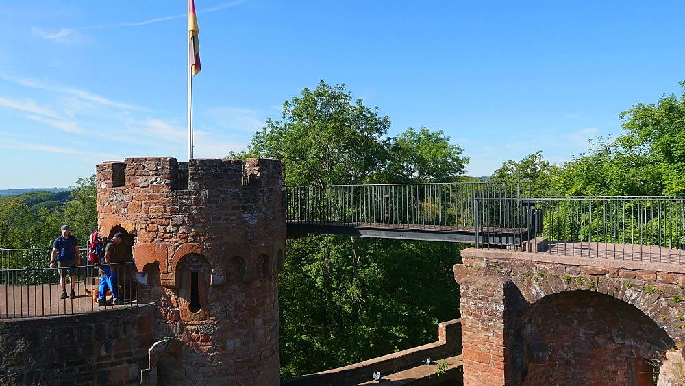 Ruins of Montclair Castle above Saar River near Mettlach, Saarland, Germany, Europe
