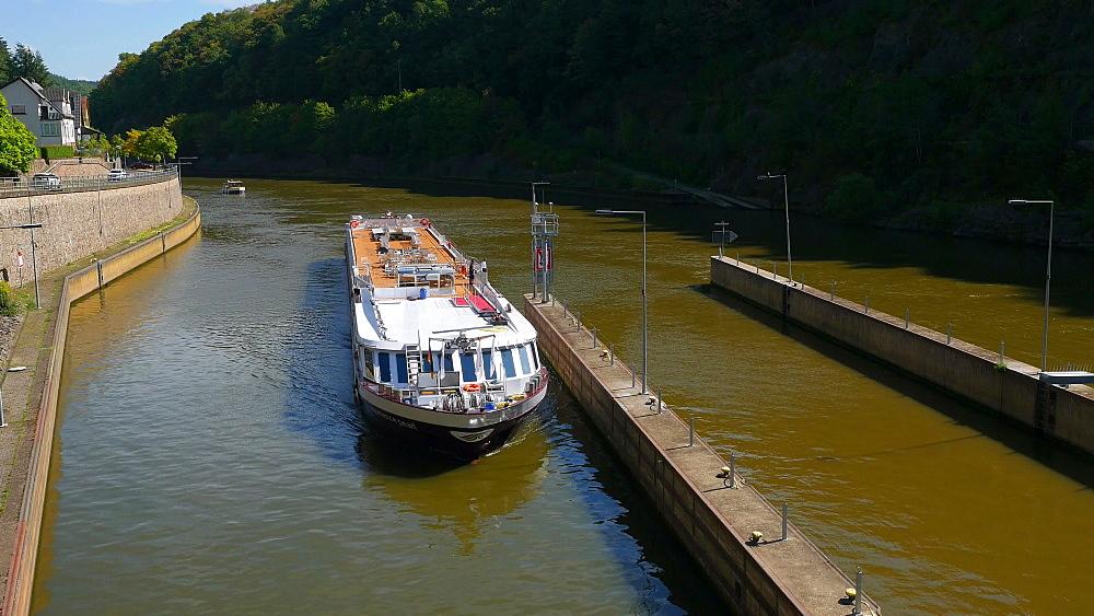 Ship in Mettlach, Saar River, Saarland, Germany, Europe