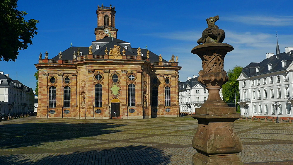Church of St. Ludwig on Ludwigsplatz Square, Saarbrucken, Saarland, Germany, Europe