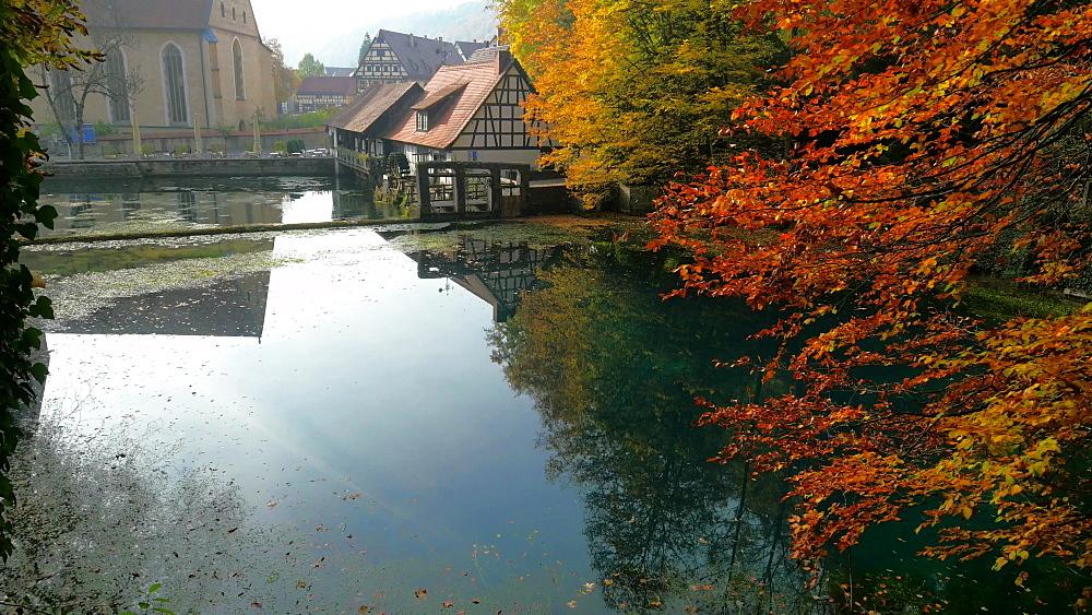 Water Mill at Blautopf Spring, Blaubeuren, Swabian Alb, Baden-Wuerttemberg, Germany - 396-10533