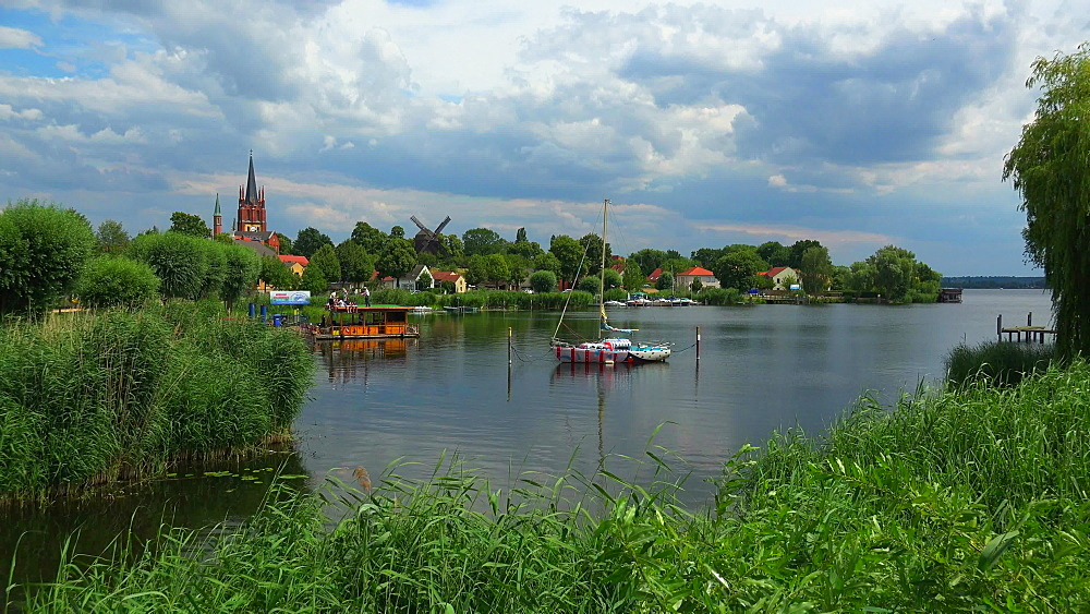 Island Town of Werder an der Havel with Church of the Holy Spirit and Post Mill, Mittelmark, Brandenburg, Germany