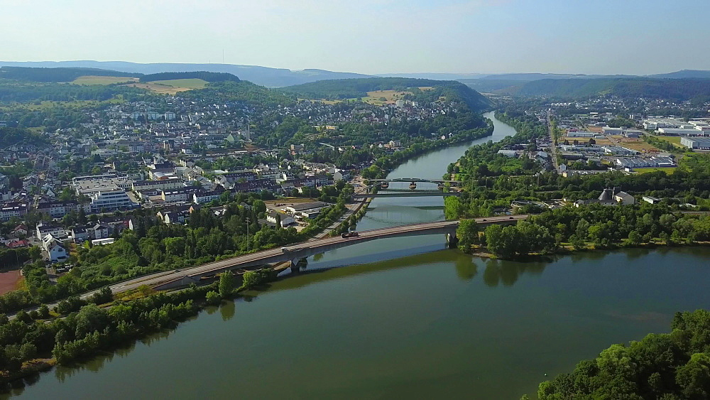 Junction of the Rivers Saar and Moselle near Konz, Rhineland-Palatinate, Germany, Europe