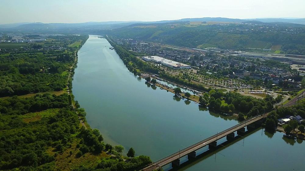 River Moselle near Konz, Rhineland-Palatinate, Germany, Europe