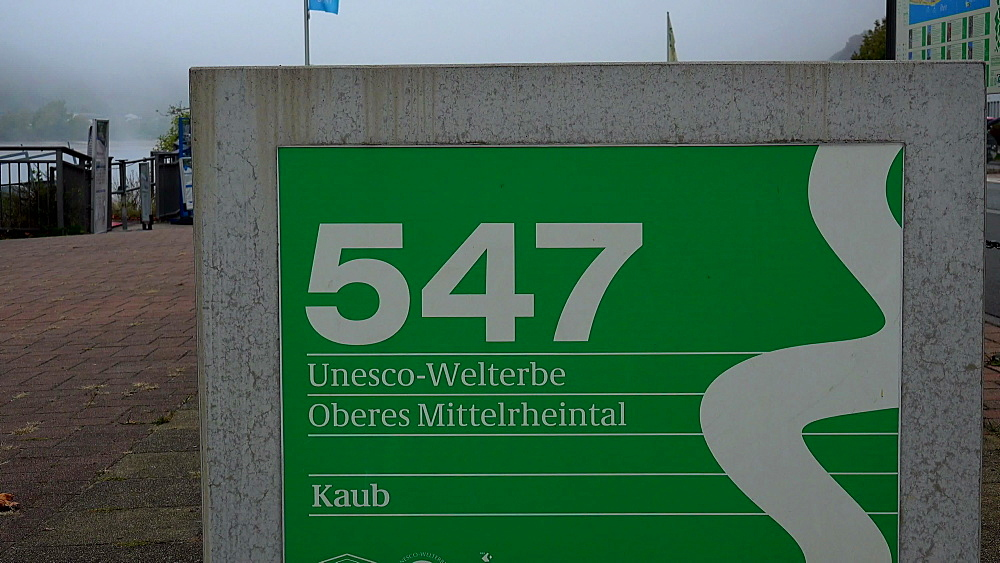 Sign in Kaub, UNESCO World Heritag Site, Rhine Valley, Rhineland-Palatinate, Germany, Europe
