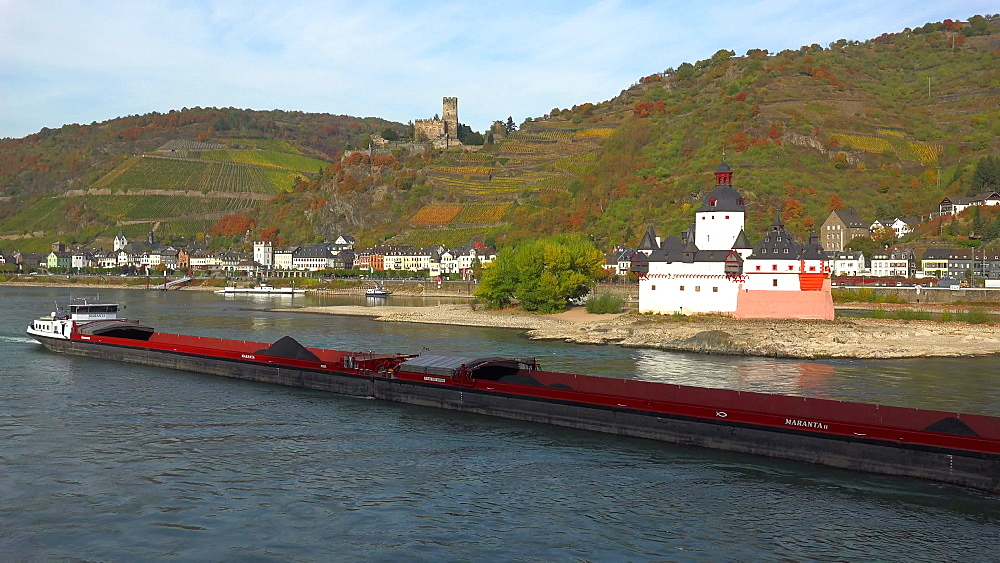 Rhine River with Pfalzgrafenstein Castle and Gutenfels Castle in Kaub, Rhineland-Palatinate, Germany, Europe