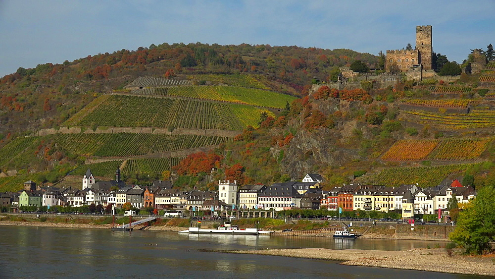 Rhine River with Gutenfels Castle in Kaub, Rhineland-Palatinate, Germany, Europe