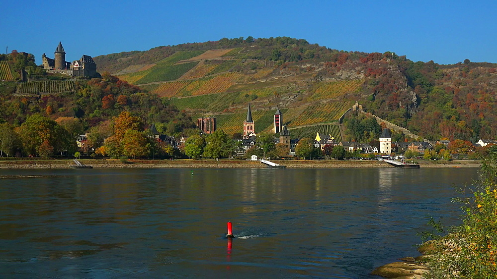 Rhine River with Stahleck Castle and Bacharach, Rhineland-Palatinate, Germany, Europe