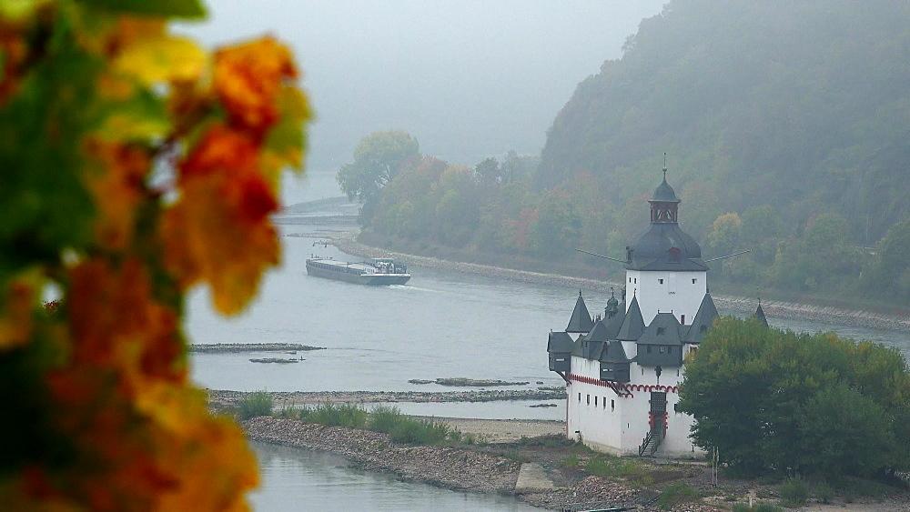 Rhine River with Pfalzgrafenstein Castle in Kaub, Rhineland-Palatinate, Germany, Europe